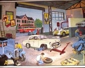 French Vintage Antique Car Garage School Poster 1960's