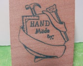 Wood, Mounted, Custom Made Rubber Stamp, Destash, (HAND Made by)