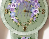 Clock, Wood, Hydrangea, Hand-Painted