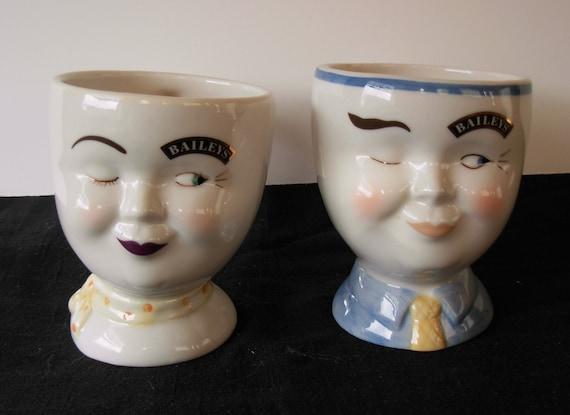 Vintage, Ceramic, Baileys Irish Cream Winking Face Cups, Set of 2
