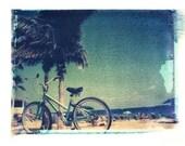 8x10 polaroid transfer of beach bicycle