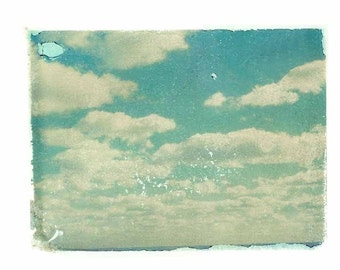 Clouds Sky Turquoise Blue  Polaroid Art Print 8x10 inches
