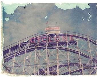 Coney Island Roller Coaster Polaroid Transfer Photography Art 8x10 Print