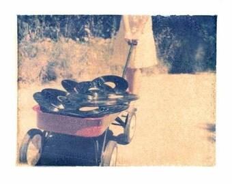 Art-Photography-Polaroid transfer-gift-summer-records-red wagon-memory-vintage art-4x5