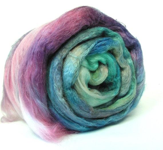 Merino Silk Spinning Fiber Combed Top Brick 2.5 oz PEACOCK Teal, Yellow, Plum
