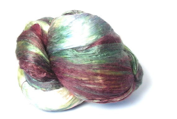 Silk Spinning Fiber Combed Top Brick Super A1 Quality 2 oz Copper, Yellow, Green, Blue, White