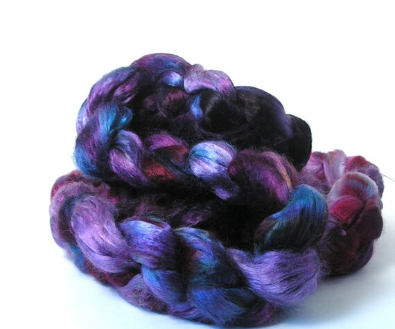 Bamboo Rayon 7 oz Hand Dyed STRANGE BREW Purple, Blue, Scarlet