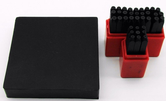 """36Pc. 1/16"""" (1.5mm)  Letter And Number Stamping Set With 4"""" x 4"""" Rubber Bench Block"""