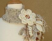 Ivory Flower Scarflette - gsakowskidesigns