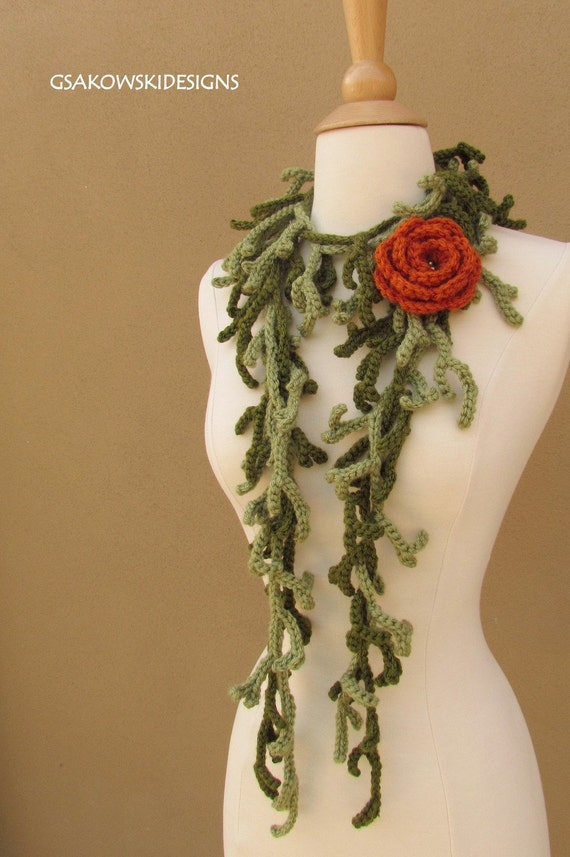 Rose and Branches Lariat-Terracotta