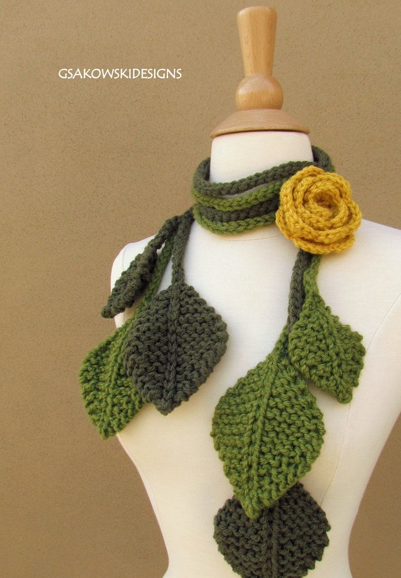 Crochet Scarf Pattern Leaf : Items similar to Tuscany Rose Lariat-Yellow-3pcs on Etsy