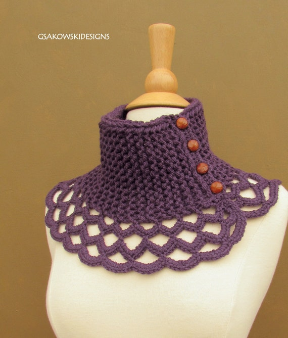 HOLIDAY SALE Virginia- Wool Scarflette-Royal Purple
