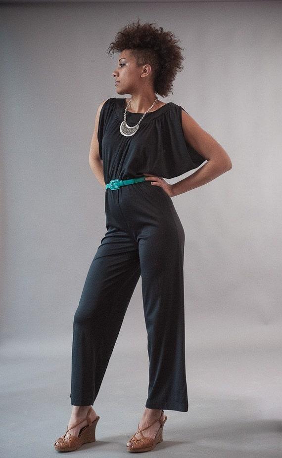 Vintage 70's Black Jumpsuit Disco Draped Dolman Sleeves