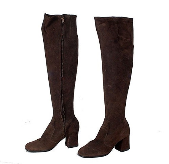 Vintage 60 S Over The Knee Go Go Boots Brown Suede Mod