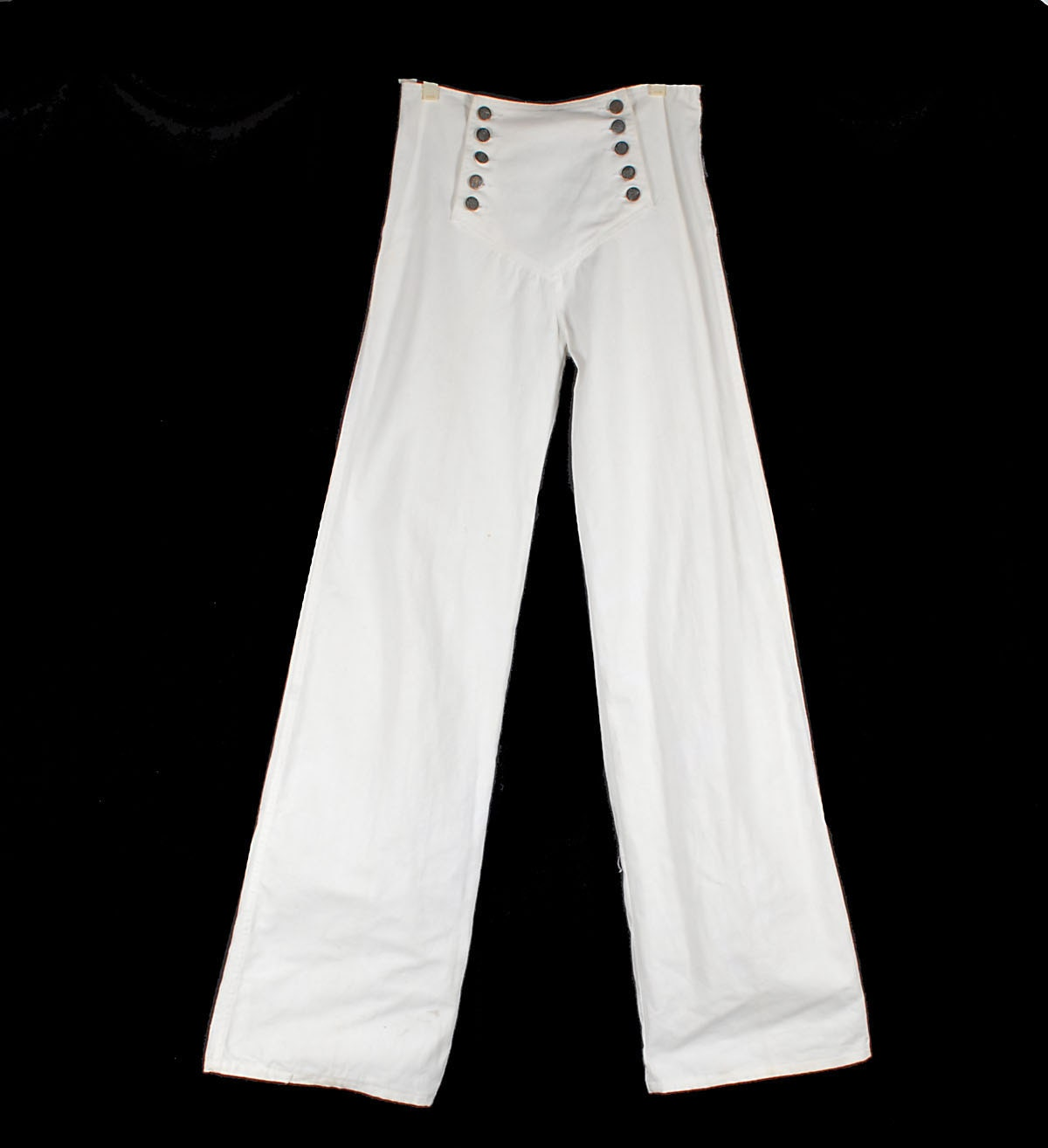 Vintage 70s White High Waisted Nautical Sailor Pants With Wide