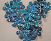 Blue 17mm Enameled Flowers