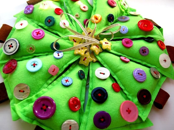 Christmas Trees wholesale pack 10x Felt Trees dipped in buttons