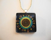 Steampunk Clock Glass Tile Pendant Necklace - FREE BALL CHAIN