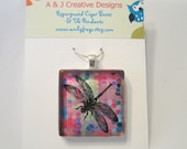 Pink Dragonfly Glass Tile Pendant Necklace - FREE BALL CHAIN