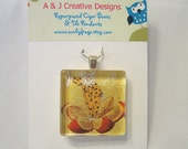 Jester in Fruit Glass Tile Pendant Necklace - FREE BALL CHAIN