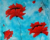 Red lipstick Poppy Original Oil Painting