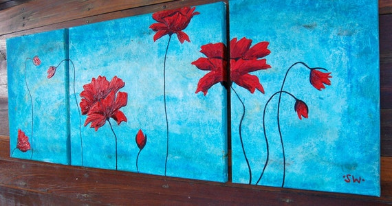 Poppies Original Tryptic Oil Painting