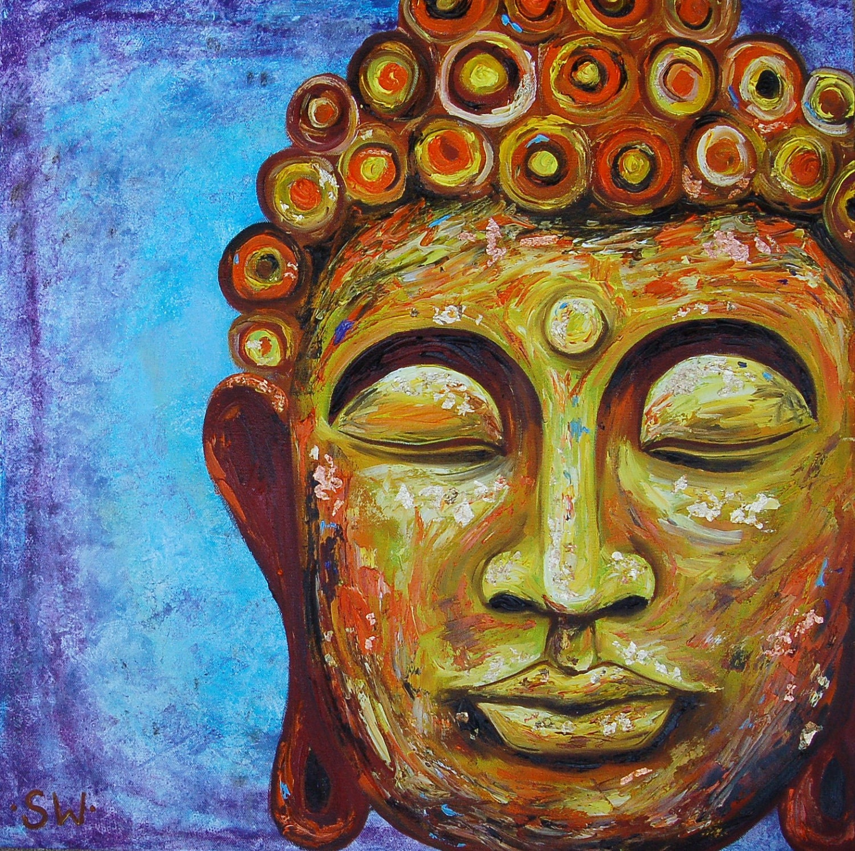 Golden buddha 2 original oil painting for Buddha mural paintings