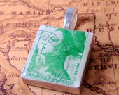 Green Marianne of the Republic of France Vintage Postage Stamp Scrabble Pendant