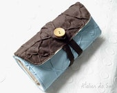 Straight Knitting Needle Case Needle Holder Craft Bag  Needle Case in Chocolate Brown Sky Blue