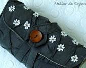 Circular Needle Case Needle Organizer Knitting Needle Holder in Charcoal Gray Grey
