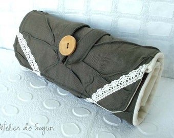 Crochet Hook Case Crochet Hook Holder Needle Case Craft Bag in Dark Olive Green