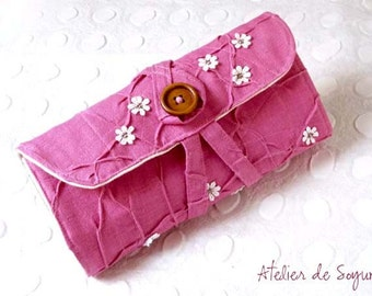 Needle Case with Notion Pouch Needle Holder Craft Bag Knitting Needle Case DPN Case in Magenta Fuchsia Pink