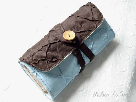 Circular Knitting Needle Case Needle Holder Knitting Needle Case Circular Knitting Needle Case in Sky Blue Dark Brown