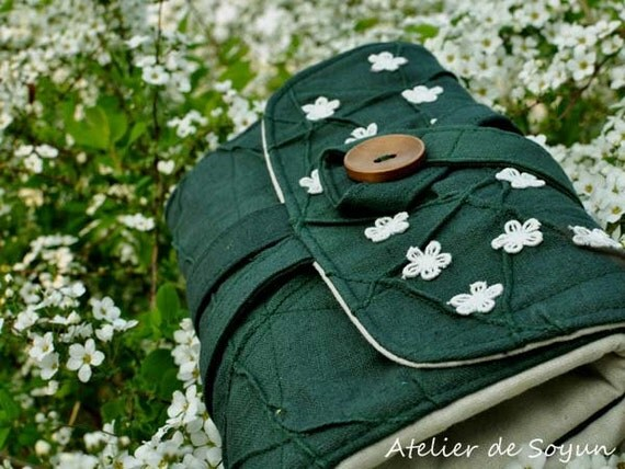 Double Pointed Needle Case Needle Holder Craft Bag Knitting Needle Case DPN Case in Forest Green