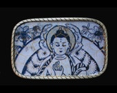 Interchangeable Buddhist Womens Mens Interchangeable Belt Buckle.  Recycled rubber belts also available. Meditation. Spiritual.  Buddha.