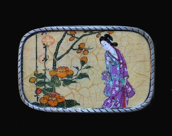 Japanese Geisha Belt Buckle.  Interchangeable. Mens buckles.  Womens buckles.  Recycled rubber belts too.  Wearable and functional art.