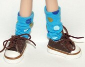 Tall Blue Dot Socks For Blythe...One Pair Per Listing...
