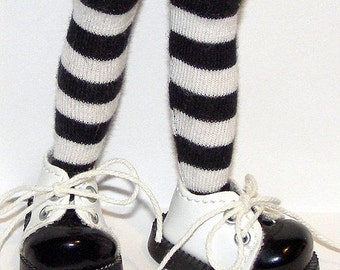 Tall Black And White Striped Socks For Blythe...One Pair Per Listing...