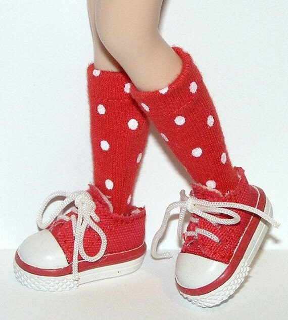 Short Red And White Polk A Dot Socks For Blythe...One Pair Per Listing...