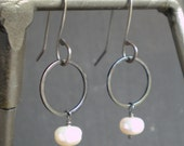 Simple Pearl Earrings with Sterling Silver and Rhodium