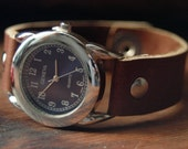 RESERVED - Navy blue watch face on tan remnant leather - Unisex wrist watch