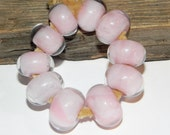BLOW OUT SALE-Pink Boro Hand Made Beads From Misty Creek Studio Artist Terry Sieber