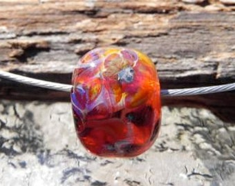 Large Hole  Borosilicate Glass Bead in Orange, Yellow and Fushia By Misty Creek Studio Artist Terry Sieber