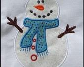 INSTANT DOWNLOAD Be Merry Snowman Applique designs 3 sizes