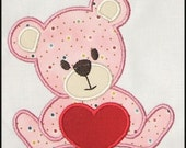 INSTANT DOWNLOAD Valentine Teddy Bear Applique designs