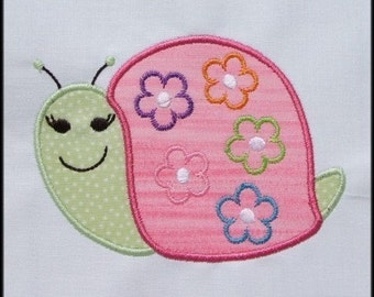 INSTANT DOWNLOAD Blooming Snail Applique designs 3 sizes