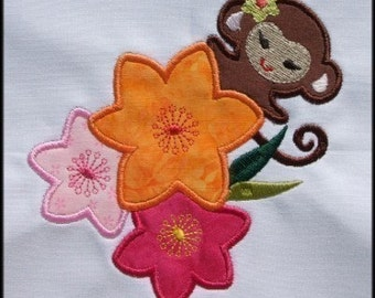 INSTANT DOWNLOAD Tropical Monkey Applique designs