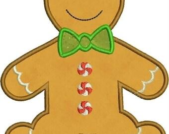 INSTANT DOWNLOAD Gingerbread Boy Applique designs 3 sizes
