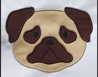 INSTANT DOWNLOAD Pug dog face applique designs
