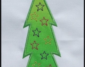 INSTANT DOWNLOAD Be Merry Christmas tree B Applique designs